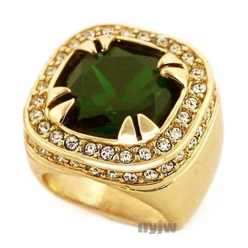 New Mens Big Chunky Gold Plated Iced Out Rich Gang Emerald Green Ring R020g