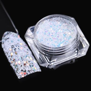 Hexagon Snowflake Nail Sequins 1.5g Colorful Stripe White Glitter Paillette Flakies Manicure Nail Art Decoration