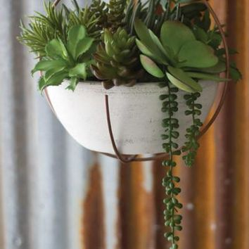 Hanging White Clay Bowl Planter With Copper Finish Holder
