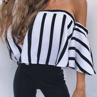 White-Black Striped Off Shoulder Backless Sweet Going out Blouse