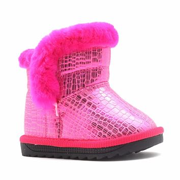 New Toddler Girls Winter Warm Boots Shiny PU Leather Fashion Girls Boots Plush Children's Winter Shoes