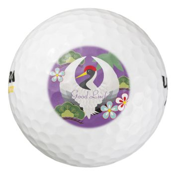 Japanese Good Luck Symbols Cool Elegant Purple Golf Balls