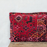 set of two kilim cushions, 12x16, rug pillows for couch or sofa, throw pillows, berry red and black, dothraki tribal design with animals