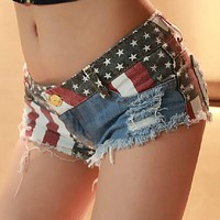 Flag  Low waist shorts