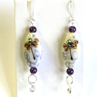 Earrings Gorgeous Lampwork glass with dragonflies and Genuine Amethyst