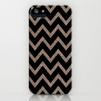 Black and Gold Glitter Chevron iPhone & iPod Case by daniellebourland