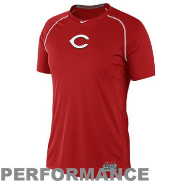 Nike Cincinnati Reds Pro Combat Core Raglan Performance T-Shirt - Red