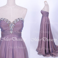 Strapless with Beaded Floor Length Chiffon Purple Prom Dresses, Wedding Party Dresses, Formal Gown, Homecoming Dresses
