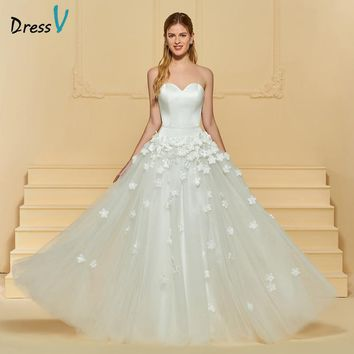 Dressv Ivory Long Wedding Dress Sweetheart Neck Sleeveless Tulle A Line Appliques Flowers Garden Custom Outdoor Wedding Dress