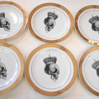 "SIX  New Gold Skull Salad Plates, Foodsafe, 7.5"", Matching Sets and Payment Plans Available"