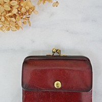 Vintage 1970s Oxblood + Leather Coin Purse
