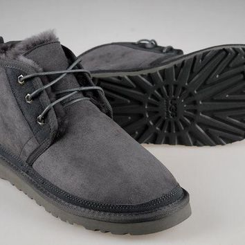 LFMON UGG 3236 Suede Men Fashion Casual Wool Winter Snow Boots Grey