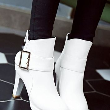New Women White Round Toe Chunky Buckle Zipper Casual Boots