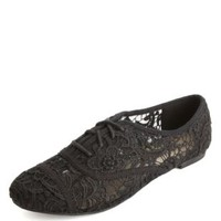 Cap-Toe Embroidered Lace Oxfords by Charlotte Russe - Black
