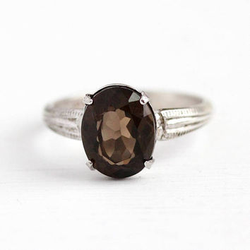 Vintage Silver Ring - Sterling Silver Genuine Smoky Quartz Gem Jewelry - 1940s Size 6 Dark Brown 2.41 Carat Oval Cinched Shoulders Statement