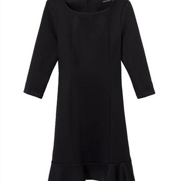 QZ1237 New Fashion Ladies' Elegant classic black ruffles Dress vintage O neck half sleeve slim look brand designer dress
