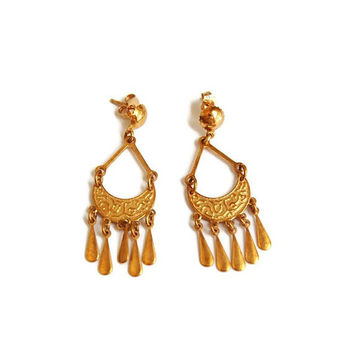 18k Gold Bohemian Earrings, Gold Earrings, 18k Chandelier Dangle Drop, Yellow Gold Filigree Boho, Etruscan Byzantine, Estate Vintage Jewelry