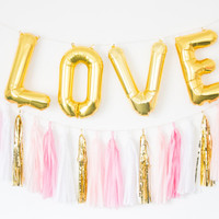 LOVE gold letter balloons with pink tassel garland // bridal shower, photo backdrop, dessert bar decor, pink and gold tassel garland decor