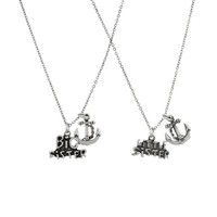 Big Sister Little Sister Anchor BFF Best Friends Forever Necklace Set (2 PC).
