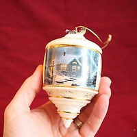 THOMAS KINKADE Home for the Evening white Heirloom Glass Collection ORNAMENT