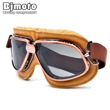 Retro Motorcycle Helmet With Smoking Lens ATV Offroad Racing Oculos Motocross Goggles Glasses For Moto Aviator Pilot Cruiser