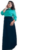 Women's Spring Plus Size Long Evening Party Patchwork Bow Dress