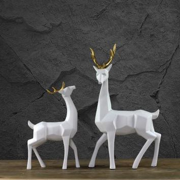 modern abstract geometric golden horn elk ornaments handmade decorative deer sculpture home decorations creative wedding gift
