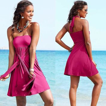 Variety Women Beach Dress Ribbon Swimming Cover Up Sexy Shoulder Straps Chest Wrapped Skirt Holiday Sling Lady 12 Colors HQVB007