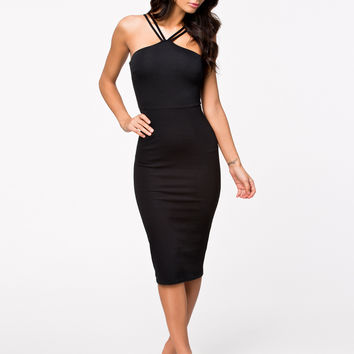 Black Double Straps Bodycon Midi Dress