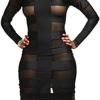 Black Cut Out Mesh Long Sleeve Dress