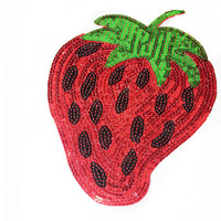 1 PCS Strawberry Patch Applique with Sequins - for Sew On - Glue On - Heat Iron Transfer