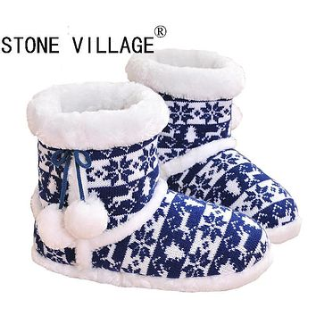 STONE VILLAGE Kitting Wool Home Slippers New Korea Style Print Plush Warm Winter Women Slippers Indoor Slippers Women Shoes TX66