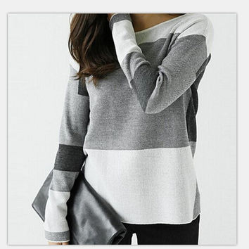 Women's Fashion Long Sleeve Patchwork Casual Round-neck Shirt [9684020623]