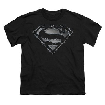 Superman Men's  Barbed Wire Youth T-shirt Black