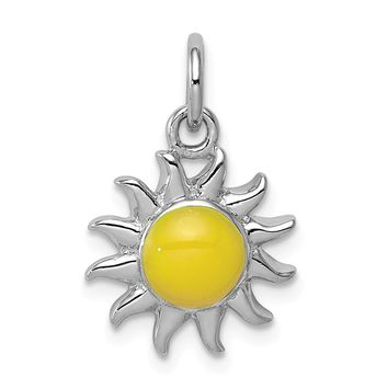925 Sterling Silver Rhodium-Plated Yellow Sun Charm and Pendant