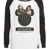 Neff Disney Collection Minnie Head Girls Baseball Tee Black/White  In Sizes