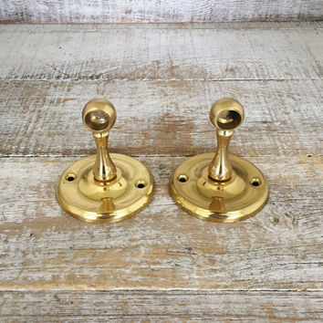 Towel Bar Brackets Mid Century Bathroom Hardware Brass Towel Bar Ends Nautical Bathroom Decor Hollywood Regency Towel Bar Brackets