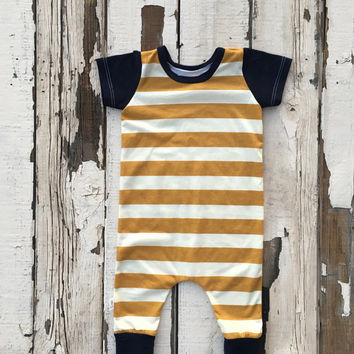 Baby Boy Harem Romper | Gender Neutral Baby Clothes | Baby Boy Clothes | Baby Boy Gift | Harem Pants | Mustard Outfit |  | Baby Romper |
