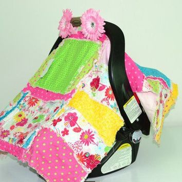 CAR SEAT COVER Hot Pink Green Rag Quilt by avisiontoremember