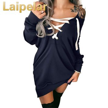 Sexy Off Shoulder Hoodies Women Lace up Bandage Tops Deep V Neck Sweatshirt female Pullovers Long Sleeves Casual Top Outwear