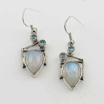 Moonstone & Blue Topaz Sterling Silver Earrings - keja jewelry