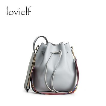 lovielf Fashion Women Female Colorful wide Strape Bucket Shoulder Bags Stylist Composite Crossbody round Messenger Bags quality