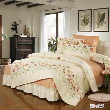 4pcs bedding set bed skirt + duvet cover  + pillowcase ruffles bed set 100% cotton home textile bed cover sheet Patchwork skirt