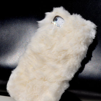 Rabbit Fur leather case for  iPhone 5