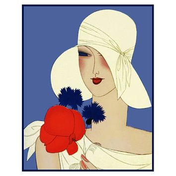 Art Deco Flapper Hat with a Red Flower Counted Cross Stitch Pattern