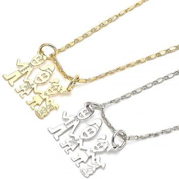 Gold Layered Fancy Necklace, Little Girl and Dog Design, Golden Tone