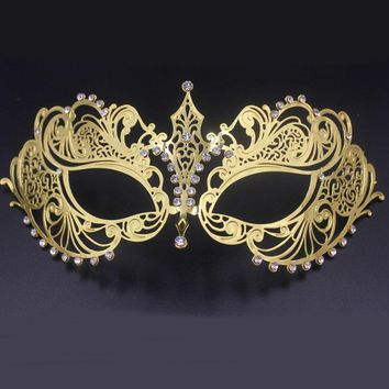 Beautiful Phantom Opera Masquerade Mask Black Gold White Female Metal Venetian Silver Rhinestone Party MACKA Wedding Ball Masks