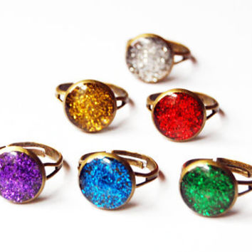 Sparkly Red / Gold / Silver / Green / Blue / Purple Drusy Glitter - Handmade Vintage Cameo Ring - Pick One
