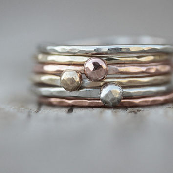 Valentine's Day For Her - Stacking Rings - Gold Silver Rose Set of 6 - 3 Nugget Rings and 3 Stackers Mixed Metal