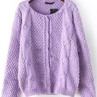 Purple Long Sleeve Knit Cardigan